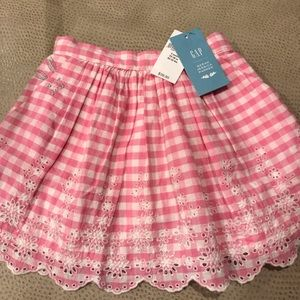 Girls Toddler 2 Pink & White gingham eyelet skirt